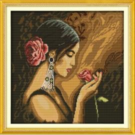 kobieta - z różą obrazek do haftu