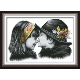 Haft krzyżykowy - Dziecięcy pocałunek - zestaw do haftu