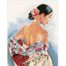 Haft krzyżykowy sklep - Hiszpanka - zestaw do haftu na gładkiej kanwie