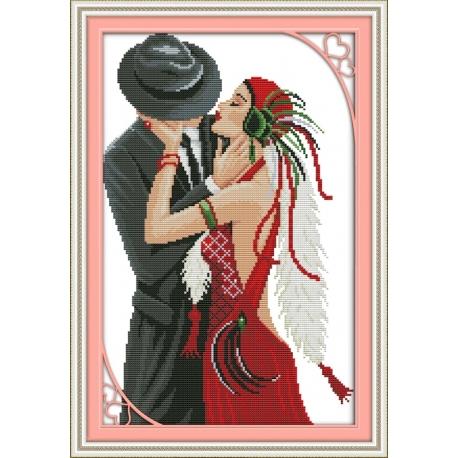 taniec - tańcząca para - obrazek do haftu krzyżykiem