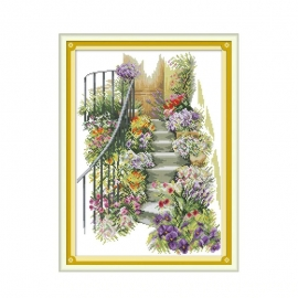 Haft krzyżykowy - Kwiaty na schodach - zestaw do haftu