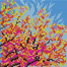 Haft krzyżykowy - do wyboru: kanwa z nadrukiem, nici Ariadna/DMC, wzór graficzny - Drzewo - Jesień (No 5618)