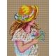 Haft krzyżykowy - do wyboru: kanwa z nadrukiem, nici Ariadna/DMC, wzór graficzny - Dziewczynka w kapeluszu (No 373)