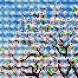 Haft krzyżykowy - do wyboru: kanwa z nadrukiem, nici Ariadna/DMC, wzór graficzny - Drzewo - Wiosna (No 5619)