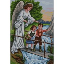 Haft krzyżykowy - do wyboru: kanwa z nadrukiem, nici Ariadna/DMC, wzór graficzny - Anioł Stróż z dziećmi (No 7126)