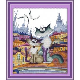 zakochane koty obrazek do haftu ściegiem krzyżykowym - kanwa z kolorowym nadrukiem Aida 14ct