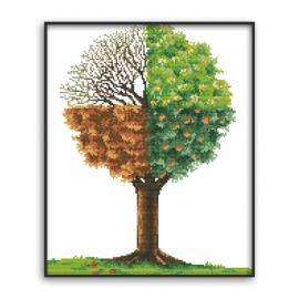 cztery pory roku na jednym obrazku - wiosna, lato, jesień, zima Drzewo