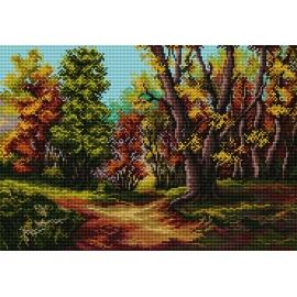 Haft krzyżykowy - do wyboru: kanwa z nadrukiem, nici Ariadna/DMC, wzór graficzny - Jesienny las (No 7133)