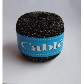 Nić bawełniana czarna ze złotą nicią
