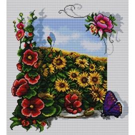 Obrazek do haftu krzyżykowego - kanwa z nadrukiem kolorowym Słoneczniki (No 7135)