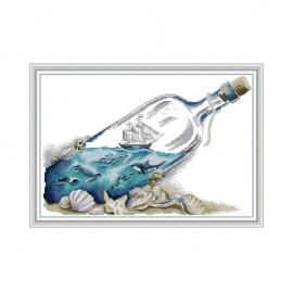 Ocean w butelce - zestaw do haftu krzyżykiem - krajobraz morski
