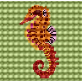 Haft krzyżykowy - do wyboru: kanwa z nadrukiem, nici Ariadna/DMC, wzór graficzny - Konik morski (No 5044)