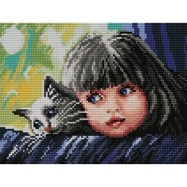 Haft krzyżykowy - do wyboru: kanwa z nadrukiem, nici Ariadna/DMC, wzór graficzny - Dziewczynka z kotkiem (No 7140