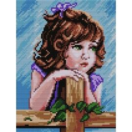Haft krzyżykowy - do wyboru: kanwa z nadrukiem, nici Ariadna/DMC, wzór graficzny - Dziewczynka (No 7141) VI