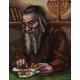 Haft krzyżykowy, kanwa z nadrukiem do haftu - Żyd liczący pieniądze/monety (No 7142)