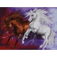 Haft krzyżykowy - do wyboru: kanwa z nadrukiem, nici Ariadna/DMC, wzór graficzny - Dzikie konie (No 7145)