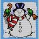 Haft krzyżykowy - do wyboru: kanwa z nadrukiem, nici Ariadna/DMC, wzór graficzny - Świąteczny bałwan (No 5703)