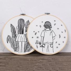 Zestaw do haftu płaskiego - Dziewczyna w liściach