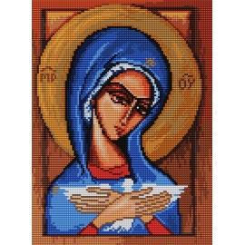 Haft krzyżykowy - do wyboru: kanwa z nadrukiem, nici Ariadna/DMC, wzór graficzny - Ikona - Matka Boska (No 7151)