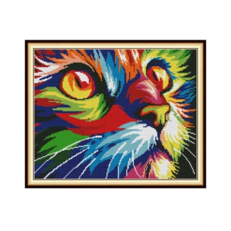Haft krzyżykowy - Kolorowy kot - zestaw do haftu