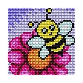 Haft krzyżykowy - do wyboru: kanwa z nadrukiem, nici Ariadna/DMC, wzór graficzny - Pszczółka (No 179)
