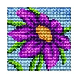 Haft krzyżykowy - do wyboru: kanwa z nadrukiem, nici Ariadna/DMC, wzór graficzny - Kwiatek (No 185)