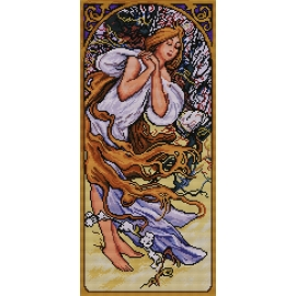 Haft krzyżykowy - do wyboru: kanwa z nadrukiem, nici Ariadna/DMC, wzór graficzny - Alfons Mucha - wiosna (No 7160)