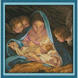 Haft krzyżykowy - Madonna z dziećmi - kanwa z nadrukiem do haftu