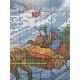 Haft krzyżykowy - Świąteczna skarpeta z saniami - wzór na papierze
