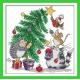 Haft krzyżykowy - Zwierzęta ubierające choinkę - zestaw do haftu