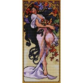 Haft krzyżykowy - do wyboru: kanwa z nadrukiem, nici Ariadna/DMC, wzór graficzny - Alfons Mucha - jesień (No 7162)