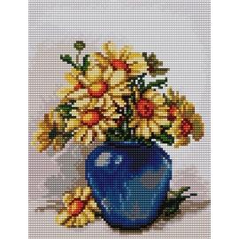 Haft krzyżykowy - do wyboru: kanwa z nadrukiem, nici Ariadna/DMC, wzór graficzny - Kwiaty w niebieskim wazonie (No 5438)