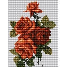 Haft krzyżykowy - do wyboru: kanwa z nadrukiem, nici Ariadna/DMC, wzór graficzny - Róże (No 5420)