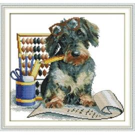 Haft krzyżykowy - Piesek matematyk - zestaw do haftu