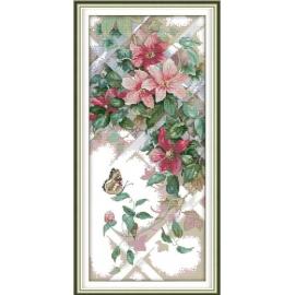 Haft krzyżykowy - Motyl na kwiatach - zestaw do haftu