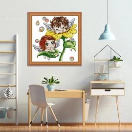 Haft krzyżykowy - Aniołki na słoneczniku - zestaw do haftu