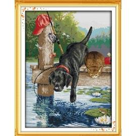 Haft krzyżykowy - Piesek i kotek na molo na jeziorze - zestaw do haftu