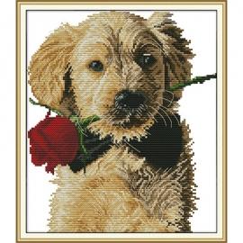 Haft krzyżykowy - Piesek z różą - zestaw do haftu