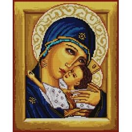 Haft krzyżykowy - do wyboru: kanwa z nadrukiem, nici Ariadna/DMC, wzór graficzny - Ikona - Matka Boska z dzieciątkiem (No 7156)