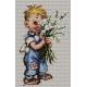 Obrazek do haftu ściegiem krzyżykowym - zestaw do haftu -Chłopiec z kwiatami (No 7164)
