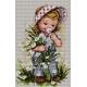 Haft krzyżykowy - do wyboru: kanwa z nadrukiem, nici Ariadna/DMC, wzór graficzny - Dziewczynka z kwiatami (No 7165)