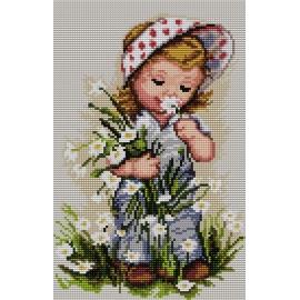 Haft krzyżykowy - do wyboru: kanwa z nadrukiem, nici Aridna/DMC, wzór graficzny-Dziewczynka z kwiatami (No 7165)