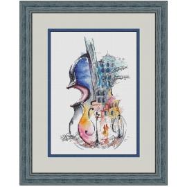 Haft krzyżykowy - Niezwykłe skrzypce - zestaw do haftu na gładkiej kanwie