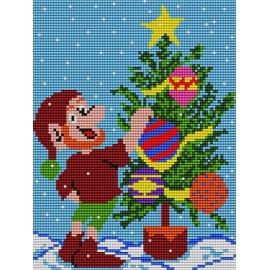 Haft krzyżykowy - do wyboru: kanwa z nadrukiem, nici Ariadna/DMC, wzór graficzny - Boże Narodzenie ze Skrzatem (No 5074)