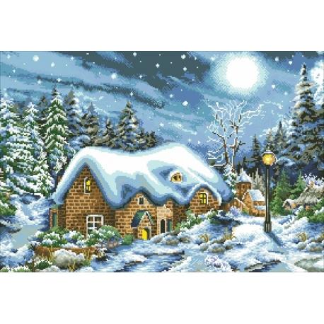 Haft krzyżykowy - Zimowa chatka - zestaw do haftu na gładkiej kanwie