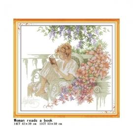 Haft krzyżykowy - Czytająca kobieta  - zestaw do haftu