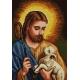 Haft krzyżykowy - do wyboru: kanwa z nadrukiem, nici Ariadna/DMC, wzór graficzny - Jezus Chrystus z owieczką (No 7176) VI
