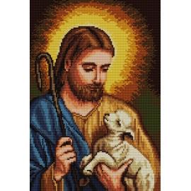 Haft krzyżykowy - do wyboru: kanwa z nadrukiem, nici Ariadna/DMC, wzór graficzny - Jezus Chrystus z owieczką (No 7176)