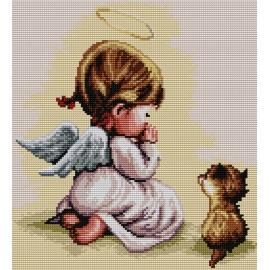 Haft krzyżykowy - do wyboru: kanwa z nadrukiem, nici Ariadna/DMC, wzór graficzny - Modlitwa - dziewczynka z kotkiem (No 7177)
