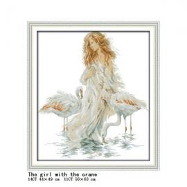 Haft krzyżykowy - Dziewczyna z flamingami - zestaw do haftu